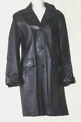 Vintage Leather Trench Coat Women  Black Buttoned Leather Jacket  Midi Length Fitted Coat  Size M Medium  Vintage clothing