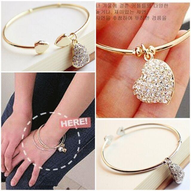 Pretty Gold Silver Love Heart Rhinestone Pendant Open Bangle Bracelet Girl Gift
