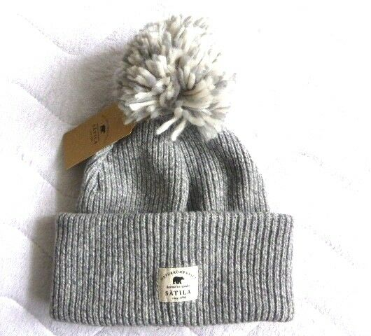 a4ed5cff706 Satila Knitted in Sweden Wool Grey Lambswool Bobble Beanie Hat Toque Pompom