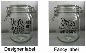 Wedding-Jar-Autocollants-decorations-de-table-Hugs-amp-Kisses-Mr-amp-Mrs-Mariage-faveurs