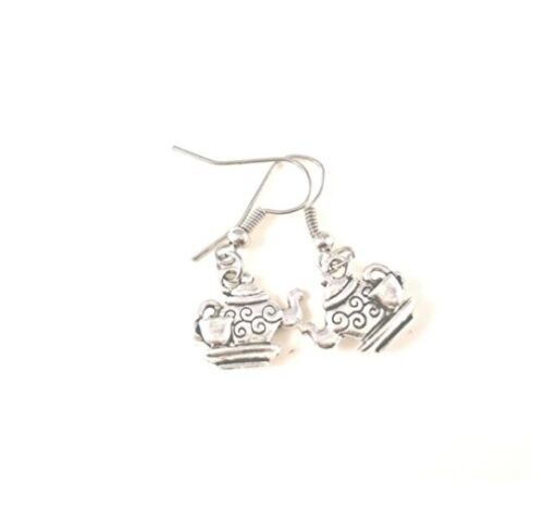 Teapot Earrings Silver Plated Dangly Drop Teacup Alice Shabby Chic