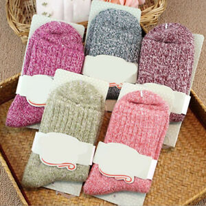 FT-5-Pairs-Women-Wool-Cashmere-Thick-Warm-Soft-Solid-Casual-Sport-Socks-Winter
