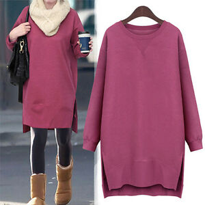 New-Women-Cotton-Loose-Crew-Neck-Long-Sleeve-Sweat-Shirts-Jumpers-Fleece-lined