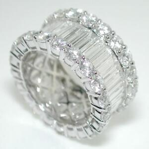 8-65-Carats-Round-amp-Baguette-Cut-Diamonds-Eternity-Band-Ring-In-14k-White-Gold