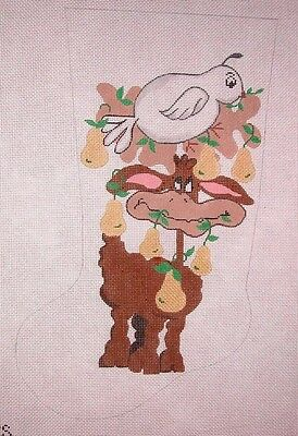 KW 606 Reindeer w// Berries Xmas Stocking HP Hand Painted Needlepoint Canvas