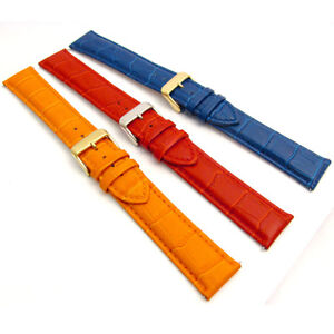 f5ea205ea Image is loading XXL-Coloured-Padded-Croc-Grain-Leather-Watch-Strap-