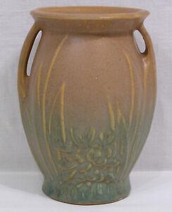 """Vintage Early McCoy Brown & Green Pottery Handled Vase Leaves, Berries 1926 6"""""""
