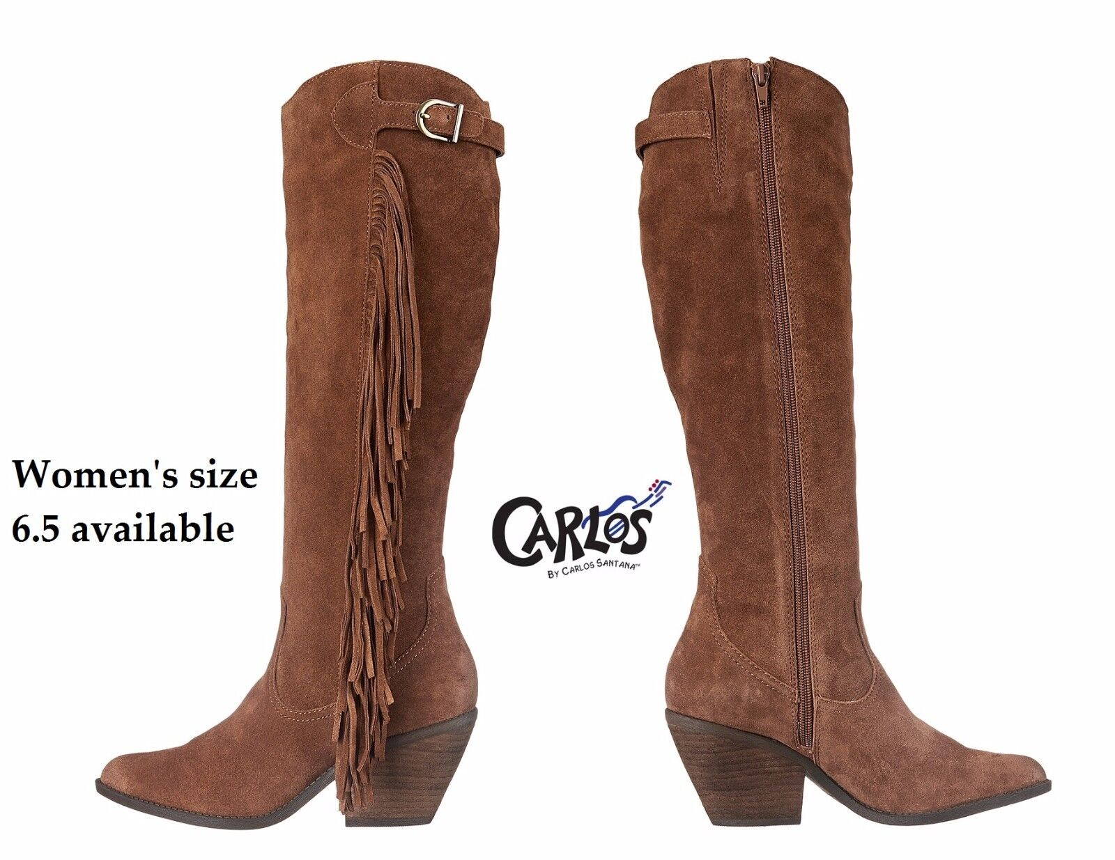 Womens size 6.5m CARLOS Santana Lever (Mustang) suede fringe boots in Brown, NIB