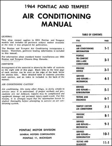 1964 Pontiac Air Conditioning AC Shop Manual Air Conditioner Repair Service