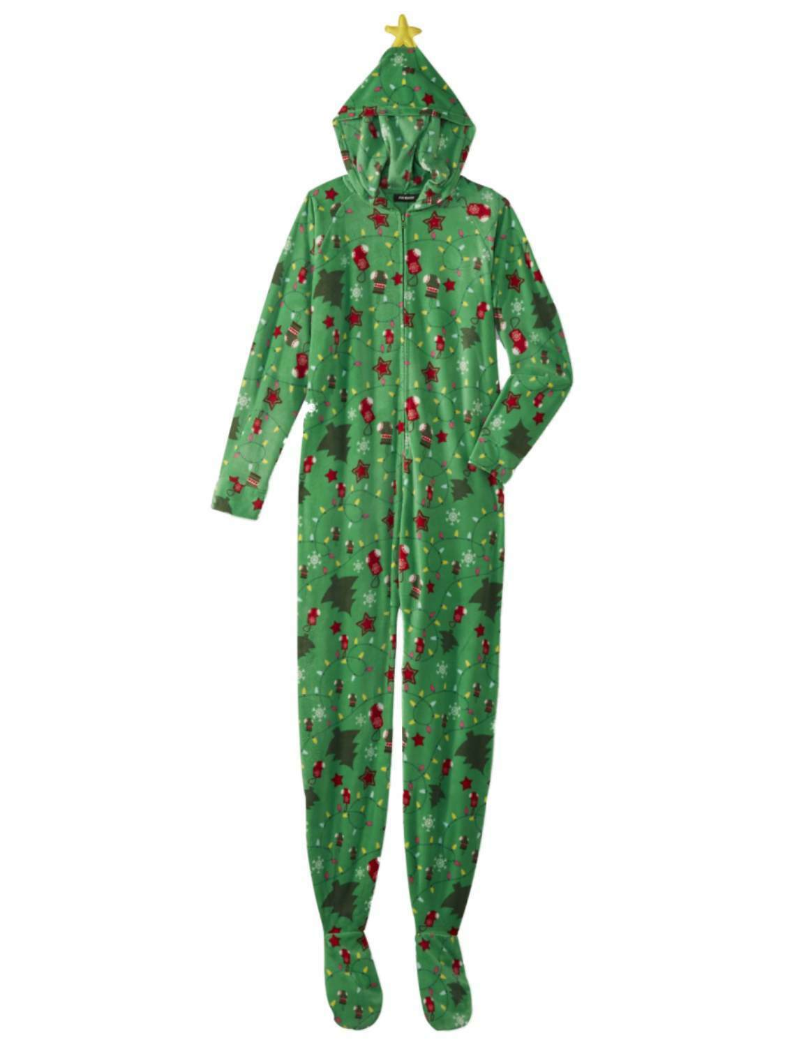Womens Green Christmas Tree Blanket Sleeper Holiday Pajama Hooded Union Suit