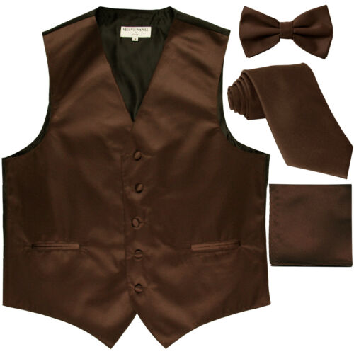 New Men/'s tuxedo Vest Waistcoat With Necktie Bowtie /& Hankie Set Brown formal