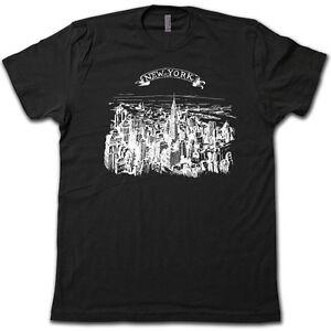 VINTAGE New York City Sketch T-Shirt - HISTORIC Era NYC Manhattan ... 7878b7dcbf3