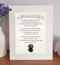 "Flat Coated Retriever 10""x8"" Free Standing Thank You Poem Fun Gift FROM THE DOG"