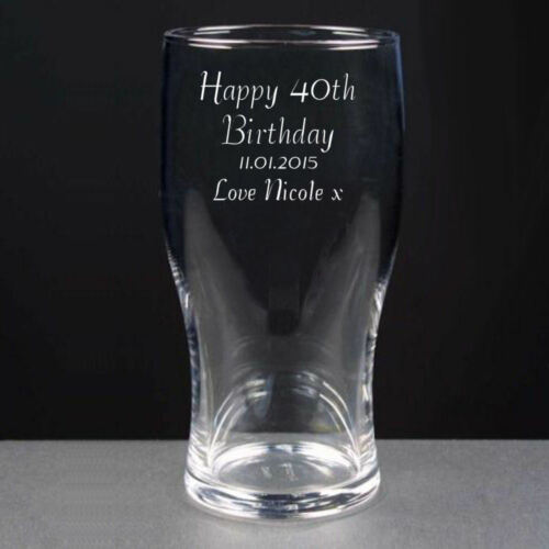 Personalised Pint Lager Beer Glass Happy 40th Birthday Engraved Gift