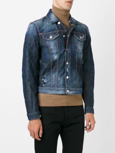 Distressed Dsquared2 £590 Rrp Blue Denim uk 46 Jacket It 36 Embroidered adrqxfdR