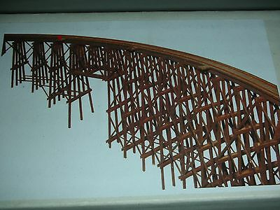 CURVED TIMBER REAL WOODEN TRESTLE- 36 inch LONG  - w/ FIRE BARRELS- KIT HO Scale
