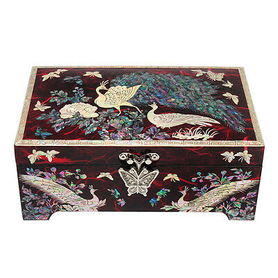 Mother of Pearl Peacock Wooden Red Jewelry Keepsake Trinket Treasure Chest Box