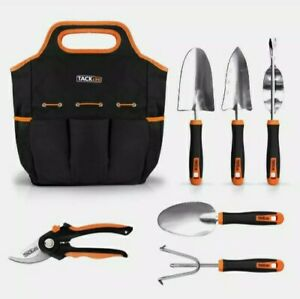 TACKLIFE Garden Tools Set-7 Piece Stainless Steel Heavy Duty kit, GGT4A, Black