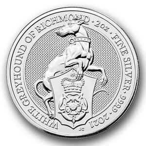 Royal M White Greyhound of Richmond 2 oz Unzen 999.9 Silberm/ünze 2021 in M/ünzkapsel