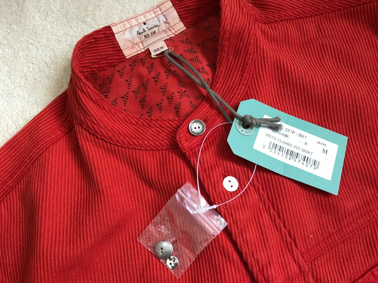 Paul Smith RED EAR Grandad Collar Red Long Sleeve Shirt   - M -  p2p 21