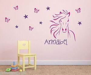 Wandtattoo pferd schmetterlinge sterne mit namen kinderzimmer 2 farbig ebay - Wandtattoo pferd kinderzimmer ...