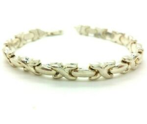 Italy-X-Links-Fine-Sterling-Silver-925-Bracelet-11g-7-034-NEW063
