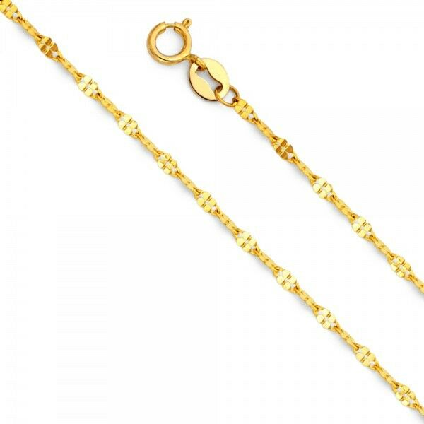 14K Yellow White gold 1.5 mm 1.7 mm Curved Stamped Mirror Pendant Chain 16-22