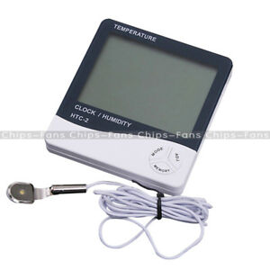 HTC-2-Digital-LCD-Temperature-Thermometer-Humidity-TEMP-Meter-Clock-With-Sensor