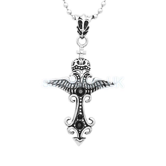 Unisex's Men Women Silver Stainless steel Cross Pendant Necklace Chain