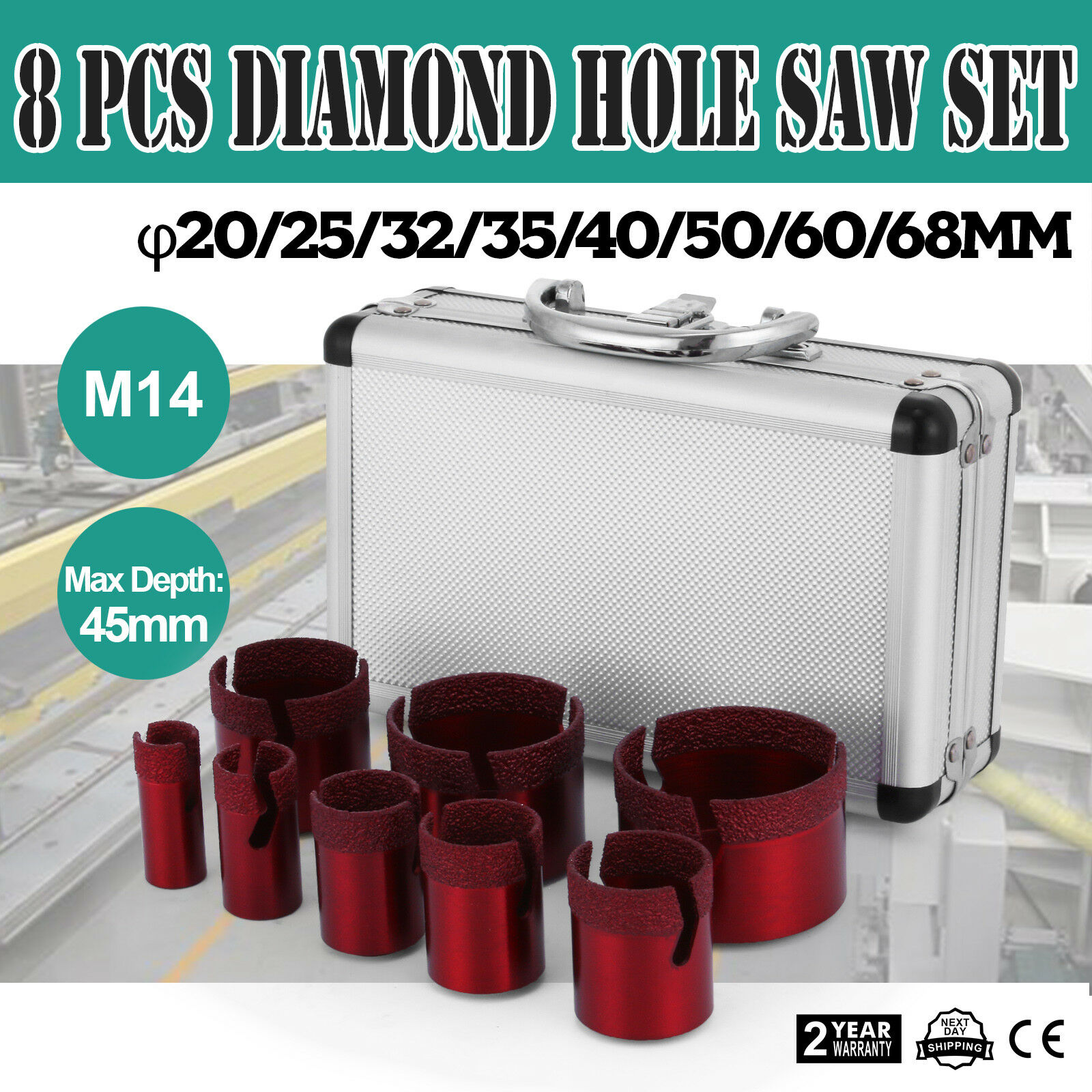 Diamond Premium Diamant-Fliesenbohrkronen Set 8-teilig Diamant-Fliesenbohrer