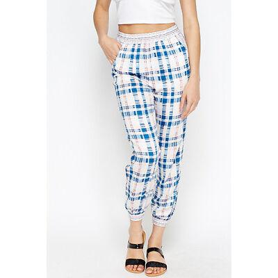 Topshop Womens Check Print Harem Pants White/Multi