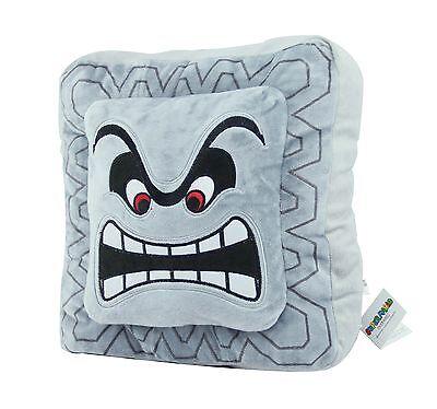 "Super Mario Bros Thwomp Dossun Soft Plush Toy Doll 12"" Grey Cushion Pillow"