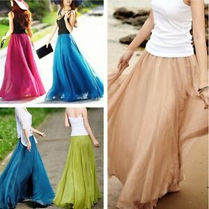 NEW-Womens-Ladys-Girls-Chiffon-Dress-French-Vintage-Dress-Retro-Long-Maxi-Skirt