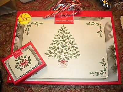 LENOX HOLIDAY HOLLY SET OF PLACEMATS (4) & COASTERS (6)