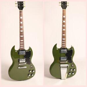 Top-Quality-Custom-SG-Style-Electric-Guitar-Olive-Green-No-Logo-ABR-Bridge
