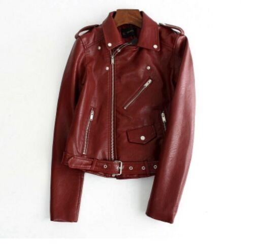 Women Faux Leather Short Jacket Bolero Metallic Clubwear S-3XL Motocycle Coat L