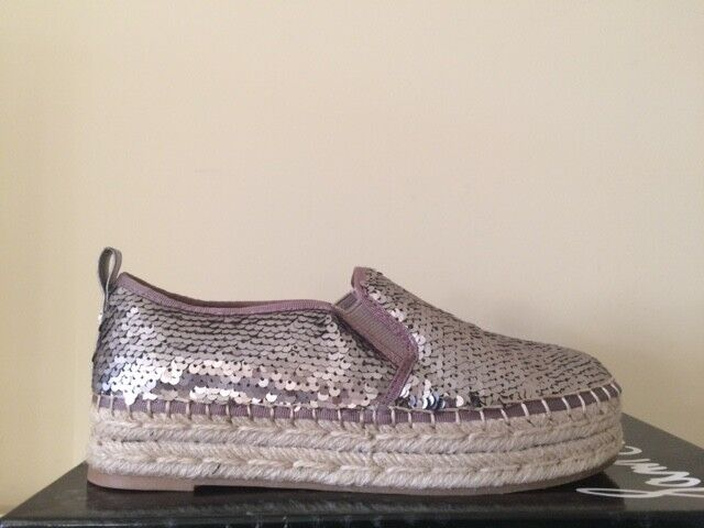 negozio online SAM ELDERMAN CARRIN PLATFORM ESPADRILLES SEQUINS EMBELLISHED IN IN IN PEWTER SZ 7  37  connotazione di lusso low-key