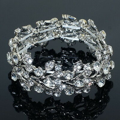 SX06 WGP Clear Rhinestone Crystal Bangle Bracelet Bridal Wedding Party Gift