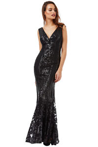 Goddiva Black V Neck Sequin Fishtail Long Maxi Wedding