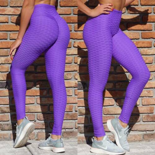Womens Anti-Cellulite Yoga Pants Ruched Leggings Push Up Sports Fitness Gym Plus