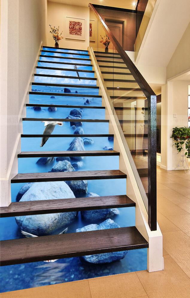 3D Sea Stones Birds Stair Risers Decoration Photo Mural Vinyl Decal Wallpaper AU
