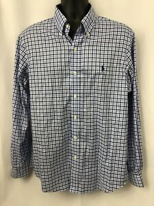 Polo-Ralph-Lauren-Mens-Non-iron-Blue-Plaid-Long-Sleeve-Button-Down-Shirt-Size-L