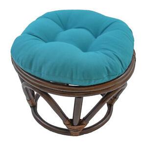 18-inch-Round-Solid-Twill-Tufted-Footstool-Cushion-Aqua-Blue