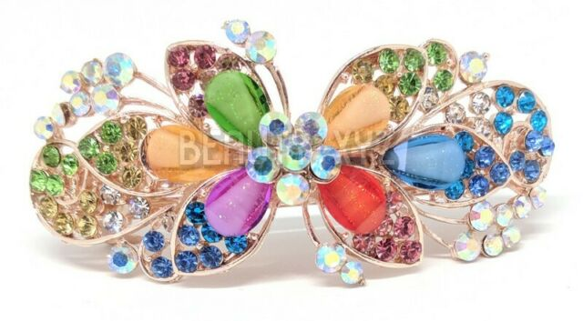 Lovely Mini Crystal Rhinestone Plastic Butterfly Hair Claw Jaw Clip Clamp Pin G$