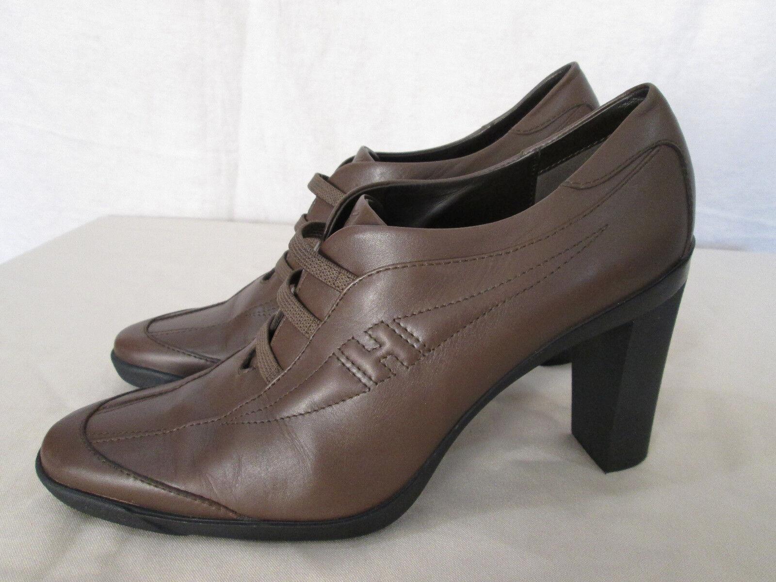 Genuine Damens Hogan logo Leder high heels schuhe 9 in taupe