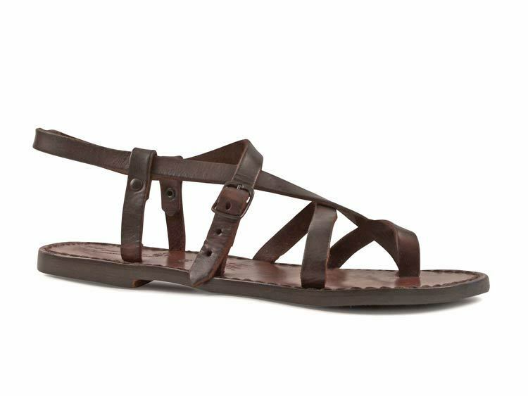 Womens italian leather ankle strap thong sandals dark brown hand made leather