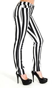 5712083761804 Details zu Damen Streifen Hose Jeans Schwarz Weiß Gestreift Punk Rock Gr. 40