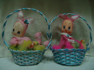 VINTAGE EASTER BASKET WITH PIXIE BUNNY & CHICK PINK VERY CUTE JAPAN