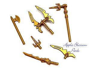 NEW-Lego-Ninjago-Ninja-Minifig-GOLDEN-WEAPON-SET-w-Minifigure-Gold-Dragon-Sword