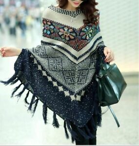Women-Winter-Poncho-Knit-Sweater-With-Tassel-And-Sequins-Oversized-Pullover-Cape